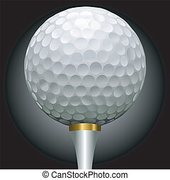 golf ball on gold tee - close up illustration of golf ball...