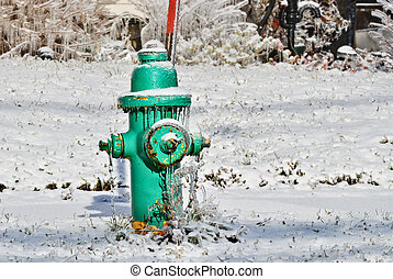 Fire Hydrant - Green fire hydrant with icicles in snow