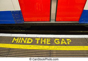 Mind the gap, warning in the London underground - UK
