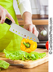 Woman's, hands, cutting, vegetables