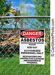 Asbestos Warining - Warning sign of asbestos exposure on...