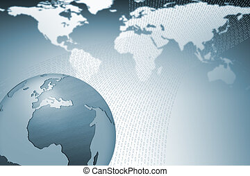 World globe background - World map with globe in front and...