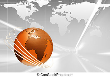 Globe Illustration - Dynamic globe illustration with world...