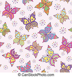 seamless pattern witn colorful butterflies - Vector...