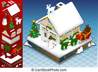 isometric christmas Snow Capped House - Detailed...