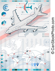 infographic set elements with airplane in various colors -...