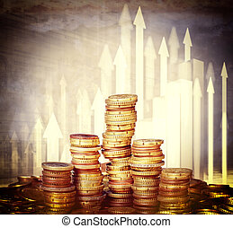 money piles - euro coin and 3d arrows background