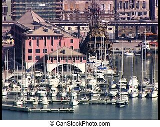 GENOVA harbor with ships and boats - View of the harbor of...
