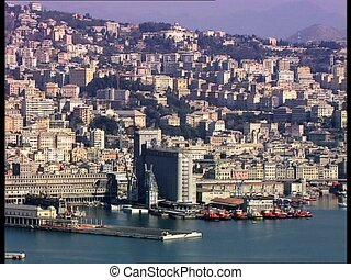 GENOVA harbor view1 - View of the harbor of the Italian city...