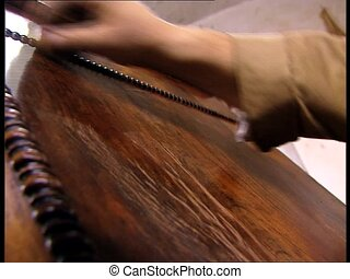 FURNITURE RESTORATION polishing - Working in a furniture...