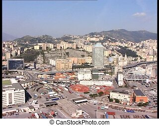 GENOVA harbor long shot lr pan - Panoramic view of the...
