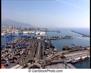 GENOVA harbor long shot rl pan - Panoramic view of the...