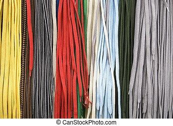 Shoe laces - Close up of colorful shoe laces