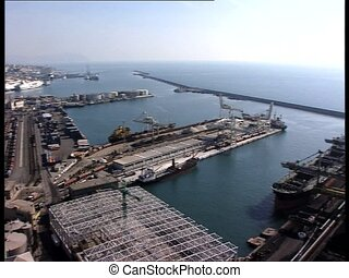 GENOVA harbor rl pan - Panoramic view of the harbor of the...
