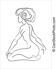 Sketch of sitting woman