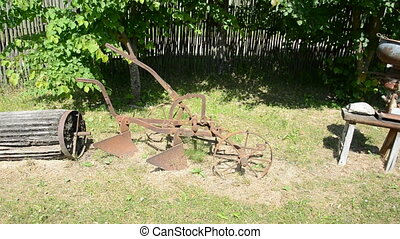 historical agriculture tools collection in farm