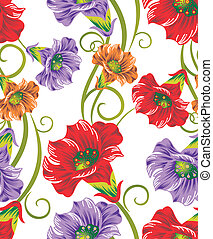Seamless vector flowers for textile