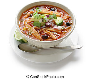 tortilla soup, mexican cuisine - crispy fried strips of corn...
