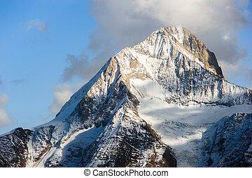 Bietschhorn mountain peak, view from Loetschenpass, valais,...