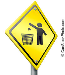 tossing waste in trash