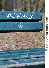 Bench With Vacancy Painted On It - park bench with vacancy...