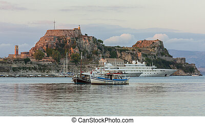 Old castle - Old greece castle and the boats