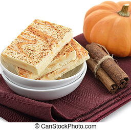 Pumpkin Spice Bars In White Dish