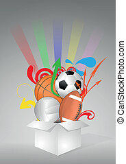 ball sport box - illustration of box with sport balls