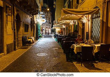 Outdoor Restaurant in the Sidewalk of Piazza Bra in Verona,...