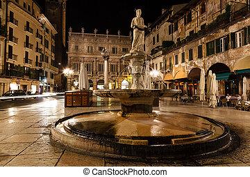 Statue of the Madonna on Piazza delle Erbe at Night, Verona,...