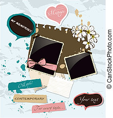 Pastel scrapbooking elements set.