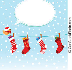 Bird With Christmas Socks - Cute girl with christmas socks.