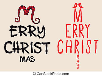 hand written Christmas card, vector