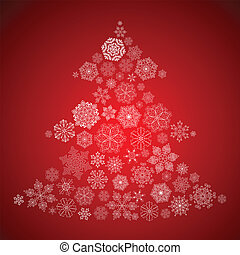 Christmas Background with Christmas Tree made of white...