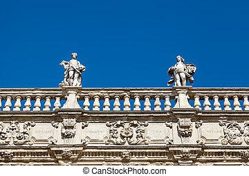 Piazza delle Erbe and Statues in Verona, Veneto, Italy