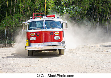 Fire Truck - A Shiny Red Fire Truck In Action, In Motion