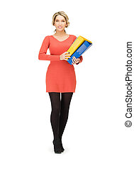 happy woman with folder - bright picture of happy woman with...