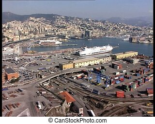 GENOVA harbor lr pan - Panoramic view of the harbor of the...