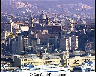 GENOVA view from harbor - View of the harbor of the Italian...