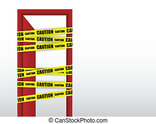 do not enter caution with door sign