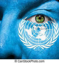 bandera, pintado, cara, verde, ojo, exposición, ONU,...
