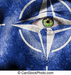 bandera, pintado, cara, verde, ojo, exposición, otan,...