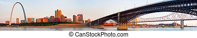 Wide view of St Louis and Eads Bridge