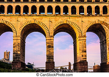 St Louis Eads Bridge Roman arches in East St Louis Illinois