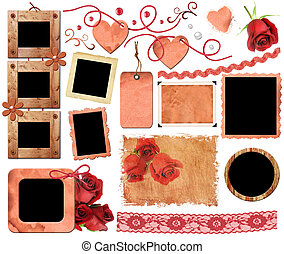 A set of scrap elements, frames, photo edges and texture of...