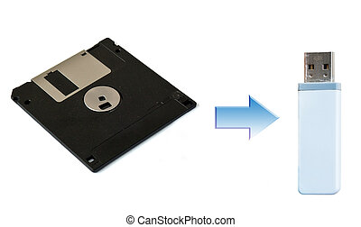 USB and Floppy Disk on White - USB Floppy Disk connecting...