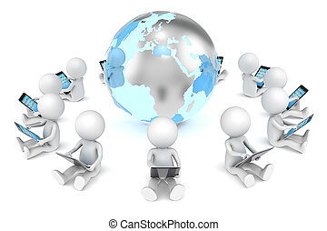 Social Network. - 3D little human character X12 sitting,...