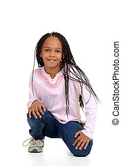 Black girl with corn rows sitting with white background