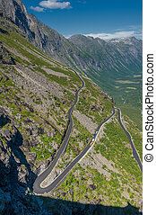 Trollstigen, Troll's Footpath, serpentine mountain road in...