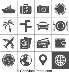 Travel and tourism icon set. Simplus series. Each icon is a...